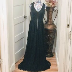 DO + BE black lace leather look formal NWT dress S